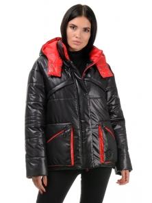 Куртка демисезонная «Бланш», 42-48, арт.297 черный-красный