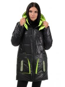 Куртка  «Кайла», 42-48, арт.301 черный-салат