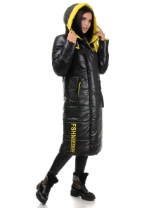 Пальто «Дженни», 42-50, арт.302 черный-желтый