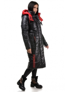 Пальто «Дженни», 42-50, арт.302 черный-красный