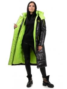 Пальто «Дженни», 42-50, арт.302 черный-салат