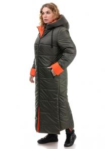 Пальто «Хельга», 50-56, арт.313 хаки-оранж