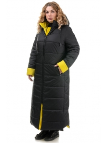 Пальто «Хельга», 50-56, арт.313 черный-желтый