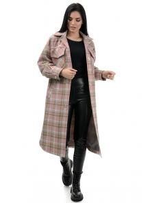 Пальто«Эрин», 42-48, арт.334 розовый-серый