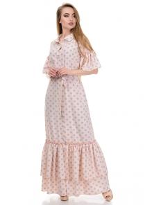 Платье «Жанна», р-ры S-L, арт.354 горох серый-пудра