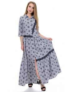 Платье «Кира», р-ры S-L, арт.356 звезды белый