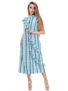 Платье «Римма», р-ры S-L, арт.359 полоска морская волна