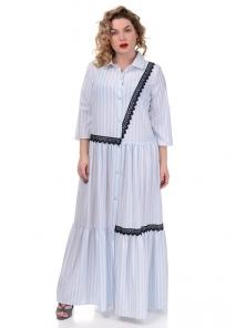 Платье «Кира», р-ры ХL-ХХХL, арт.360 рубчик голубой