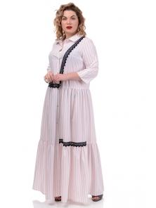 Платье «Кира», р-ры ХL-ХХХL, арт.360 рубчик пудра