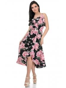 Платье «Рианна», р-ры S-L, арт.365 цветок черный
