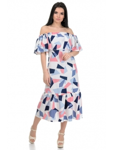 Платье «Ксана», р-ры S-L, арт.368 абстракция белый