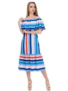 Платье «Ксана», р-ры S-L, арт.368 полоска голубой