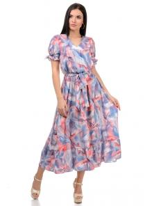 Платье «Даяна», р-ры S-ХL, арт.373 разводы коралл