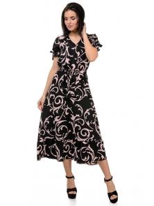 Платье «Даяна», р-ры S-ХL, арт.373 узоры черный-розовый