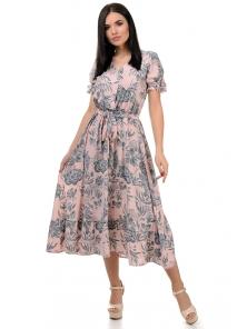 Платье «Даяна», р-ры S-ХL, арт.373 цветы пудра