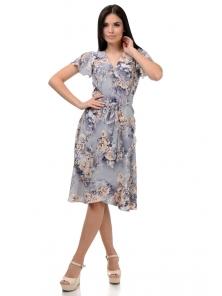 Платье «Катарина», р-ры S-ХL, арт.406 розы серый