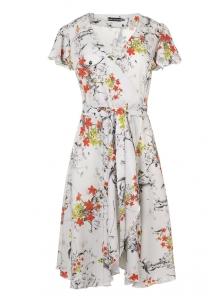 Платье «Катарина», р-ры S-ХL, арт.406 ромашки серый