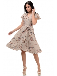 Платье «Катарина», р-ры S-ХL, арт.406 цветы беж