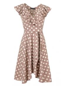 Платье «Блум», р-ры S-ХL, арт.408 горох беж