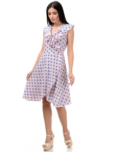 Платье «Блум», р-ры S-ХL, арт.408 горох голубой-пудра