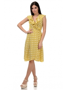 Платье «Блум», р-ры S-ХL, арт.408 горох горчица