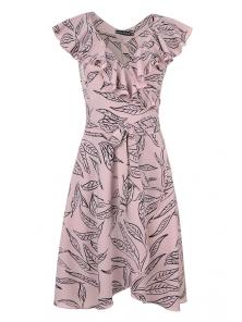 Платье «Блум», р-ры S-ХL, арт.408 листья беж