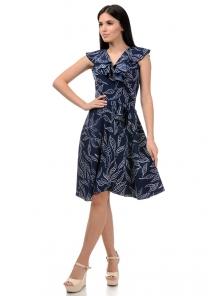 Платье «Блум», р-ры S-ХL, арт.408 листья синий