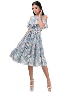 Платье «Джоди», р-ры S-ХL, арт.413 мак бирюза