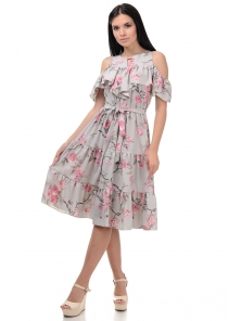 Платье «Джоди», р-ры S-ХL, арт.413 сакура серый