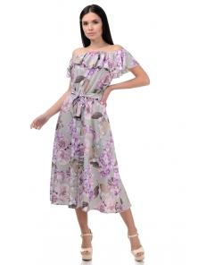 Платье «Рози», р-ры S-L, арт.414 флора оливка