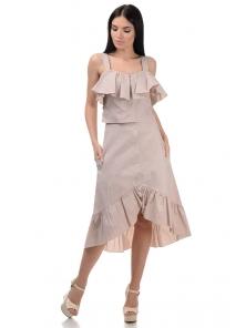 Топ и юбка «Эстель», р-ры S-L, арт.416 беж-белый