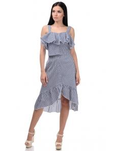 Топ и юбка «Эстель», р-ры S-L, арт.416 зигзаг синий