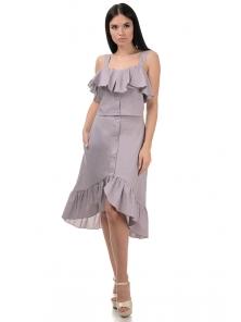 Топ и юбка «Эстель», р-ры S-L, арт.416 серый-розовый