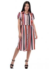 Платье «Фламелия», р-ры S-ХL, арт.418 полоска красный
