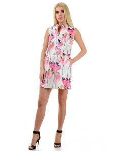 """Платье """"Медина"""", размеры S-L, арт.267 розовые цветы"""