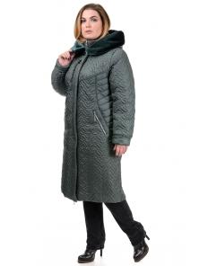 Зимнее пальто «Орнелла», р-ры 52-60, №211 зеленый