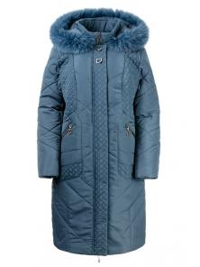 Зимнее пальто «Люсия», р-ры 50-58, №215 серый-бирюза