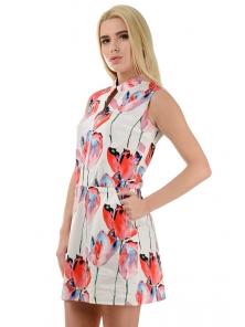 """Платье """"Медина"""", размеры S-L, арт.267 красные цветы"""