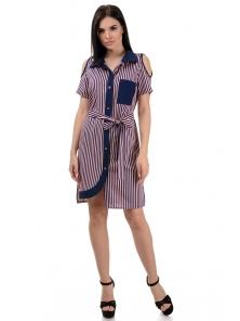 Платье «Мэри», р-ры S-ХL, арт.355 полоска пудра-синий