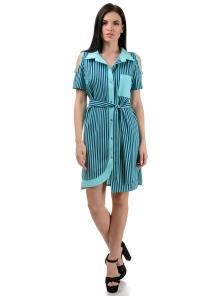 Платье «Мэри», р-ры S-ХL, арт.355 полоска мята-синий